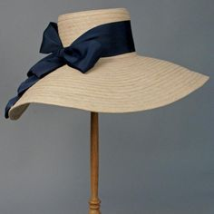 Louise Green rafia hat with navy silk bow. Fraternity Collection, Navy Ribbon, Pamela, Gold Cup, Love Hat, Beachwear For Women, Southern Belle, Derby Hats, Fashion Plates