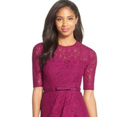 Gabby Skye Women's Short Sleeve Lace Dress Beautiful lace dress with 3/4 sleeves that you will love.  98% Polyester, 2% Spandex Imported Hand Wash Elbow sleeves Easy to wear Gabby Skye Dresses Midi