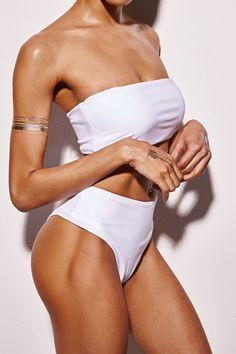 7d5e3b37d5ec1 FLORALKINI WHITE BANDEAU BIKINI TOP – FloralKini White Bandeau Bikini Top,  High Waisted Bikini Bottoms