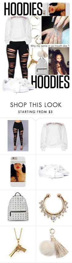 """""""Y my name in yo mouth?🤷🏽♀️🍯"""" by marleymal ❤ liked on Polyvore featuring Puma, MCM, Juicy Couture and Hoodies"""