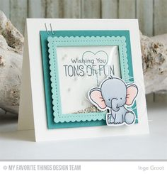 Adorable Elephants, Adorable Elephants Die-namics, Square STAX, Set 1 Die-namics, Stitched Mini Scallop Square STAX Die-namics - Inge Groot #mftstamps