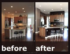 Tiny Kitchen DIY Before and After - Amazing what a drastic change new paint can make in a small kitchen.