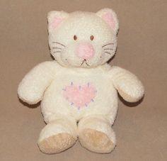 2004 Ty Cream Kittyhugs Plush Pluffies Kitty Cat Tan Pink Heart Rattle Toy Hugs #Ty