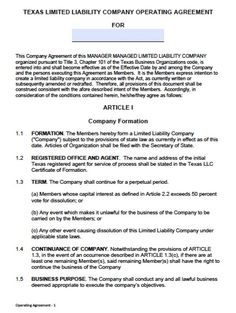 operating agreement template llc