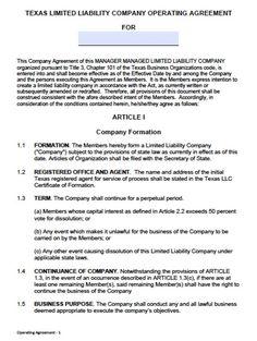 LLC Operating Agreement - Sample & Template - llc partnership ...