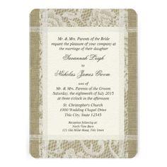 White Lace and Burlap Wedding Personalized Invites