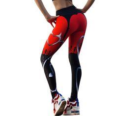 ab44c7f8cce45 New Heart Print Red Black Patchwork Sport Leggings. Printed LeggingsTight  LeggingsWomen's ...
