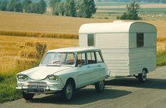 Citroën Ami 6 Break et la caravane Digue...