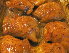 Simply Great Chicken - 3 ingredients - 3.5 boneless skinless chicken thighs or breasts, 1 pk dried Italian dressing mix, 1/2 cup brown sugar. bake @350 for an hour