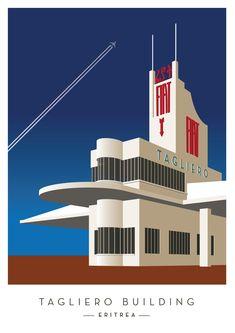 Tagliero Centre Framed Art Print by errkk - Vector Black - Art Nouveau, Architecture Photo, Modern Architecture, Art Deco Illustration, Streamline Moderne, Art Deco Buildings, Art Deco Posters, Building Art, Googie