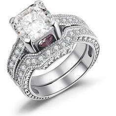Sterling Silver Cubic Zirconia Asscher Wedding Ring Set