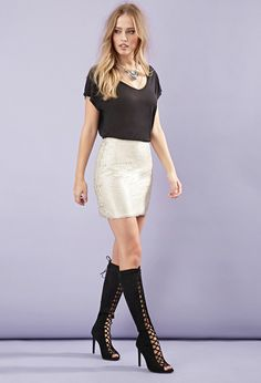 Matte Sequined Mini Skirt