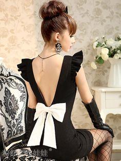 Elegant Black Deep V Back Woolen Skirt
