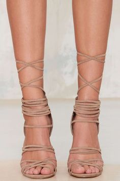 Nasty Gal Wrap Me Up Suede Heel   Shop Shoes at Nasty Gal!