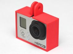 GoPro frame  This $13 frame for GoPro can also hang from things (like a toy helicopter or drone). The controls can be accessed by pressing the frame (through the case). The shop has other GoPro frames available as well. Image: dennisdereus/Shapeways
