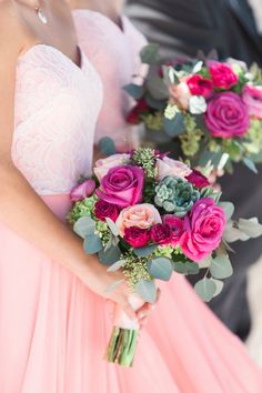 Bridesmaids in Sweetheart Blush Pink Dresses and Peach, Red, and Fuchsia Rose Bouquet with Greenery and Succulents