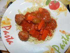 Boulettes de viande en mijoteuse façon orientale Grains, Spaghetti, Rice, Pasta, Ethnic Recipes, Table, Food, Meatball, Dumplings