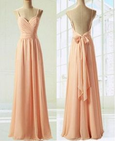 Light Pink Straps Simple Prom Dress with Bow