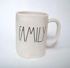 "RAE DUNN MAGENTA MUG 4.9 in "" FAMILY "" WHITE COLLECTIBLE  MUG BRAND NEW."
