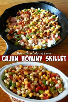 Cajun Hominy Skillet - The Southern Lady Cooks Hominy Recipes, Cajun Recipes, Vegetable Recipes, Mexican Food Recipes, Cooking Recipes, Haitian Recipes, Donut Recipes, Spam Recipes, Vegetarian Recipes