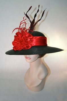 Red and Black Kentucky Derby Hat SALE $111.98 www.stores.ebay.com/hatmillinery