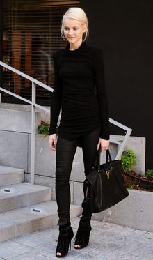 More black is back with a vengeance . . . all terribly chic and covered up except for the open-toe boots . . . which I'll never understand.