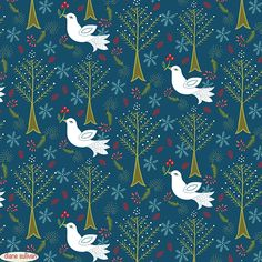 An embroidery pattern with doves + plants by Pattern Camper and Surface Pattern Designer Diane Sullivan.