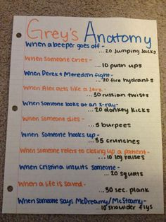 Grey's Anatomy work out....too bad ive already seen every greys episode that is out