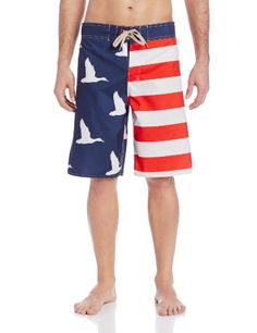 2beae2eb23 Duck Dynasty Men's Big Americana Flag Boardshort Print-blocked boardshort  featuring semi-fixed lace-up waistband with rear patch pocket