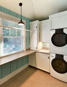 """Laundry Photos Small Laundry Room Design, Pictures, Remodel, Decor and Ideas - page 5. Like the hanging rod and folding shelf."" #laundry Laundry Room Decor and Organizing Tips"