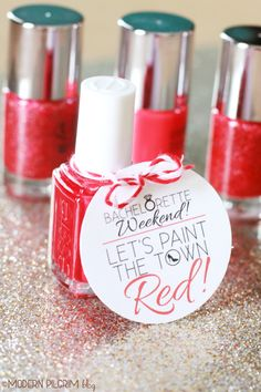 """Paint the town RED!"" with these chic nail polish Bachelorette party favors. Click to download the printable gift tags for free!"