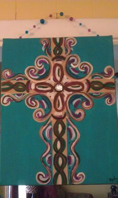 Teal & Fushia cross canvas painting