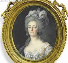 A miniature portrait of Marie Antoinette by Louis-Marie Sicardi. 1787.