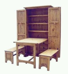 Fold away table and benches. Perfect for the tiny home.  Know anyone who can build this????