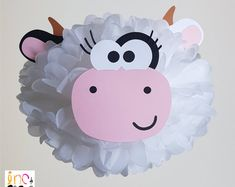Partido partido vaca pompones decoración/corral/vaca partido la granja/Farm Party suministros/viejo McDonald granja animales/Moo pompones de papel de tejido de vaca