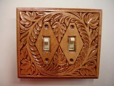 Hand carved wooden electric switch cover plate by creativemind44, $32.00