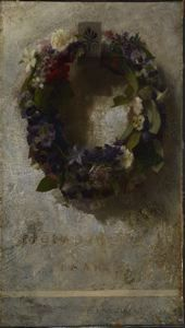 """Agathon to Erosanthe (Votive Wreath),"" John La Farge, 1861, oil on canvas, 23 x 13"", Colby College Museum of Art."