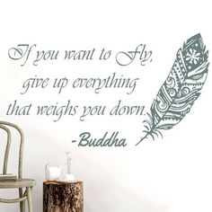 Bloomsbury Market Downey Quotes Feather Buddha Wall Decal Color: Grey