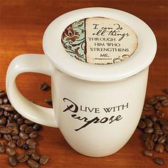 """""""Live with Purpose"""" Mug and Coaster Set   Christian Gifts   SonGear"""
