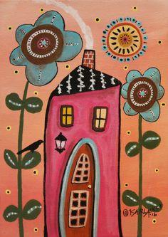 Teal Flowers ORIGINAL Canvas Panel PAINTING Folk Art Abstract 5 x 7 house bird Karla Gerard by KarlaGerardArt on Etsy