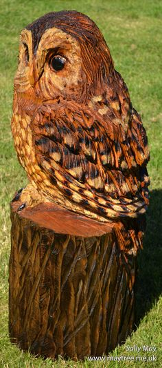 Tawny owl wooden chainsaw sculpture by Sally May