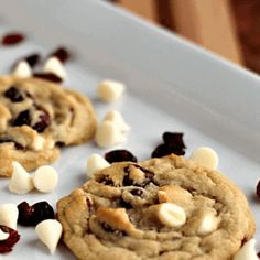 Easy Christmas Cookie Recipes, Best Christmas Cookies, White Chocolate Cranberry Cookies, White Chocolate Chips, Dried Cranberries, Treats, Desserts, Dessert Recipes, Breakfast