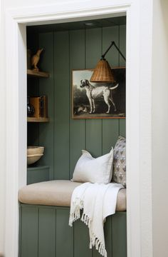This dramatic reading nook before and after features an unused dry bar that was transformed with shiplap and floating shelves. Closet Nook, Reading Nook Closet, Bedroom Reading Nooks, Reading Art, Reading Room, Building Shelves, Ship Lap Walls, Built Ins, Home Projects