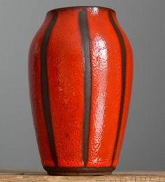 RETRO Vintage 1960 s BAY KERAMIK Red Stripy Vase W.German Pottery Fat Lava Era