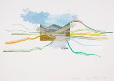 Conrad Atkinson, 'Landscape', 1980.T his collage centres on a postcard view taken in the Lake District, a popular tourist destination. Painted lines radiate from the landscape like contour lines on a map. Each is labelled with words and phrases calling attention to the invisible economic and social problems that pervade this seemingly idyllic setting.