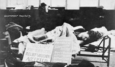 """A man sleeping on a cot during the Depression. Primary source(picture) The number of immigrants accepted into Canada dropped. For many of the unemployed """"going back to the land"""" was preferable to a miserable existence on urban relief. Canadian People, Men Lie, Canadian History, Primary Sources, Great Depression, Childrens Beds, History Projects, Country Of Origin"""