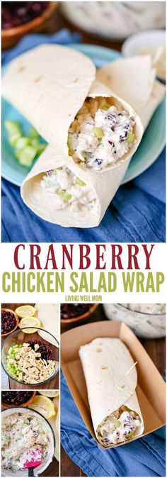 This easy Cranberry Chicken Salad Wrap recipe has chicken, slivered almonds, celery, and dried cranberries for added flavor. It's quick and simple to prepare, making it a delicious way to enjoy a healthy, filling lunch.