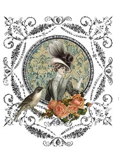 Printable vintage woman and bird, with frame and roses
