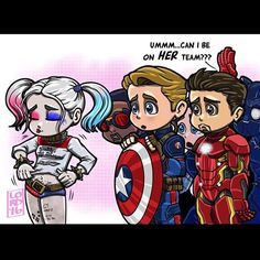 "lordmesa-art: """"Vexing"" You got the right idea Underoos!! So much for #teamcap and #teamironman!! @margotrobbie @teamcevans @robertdowneyjr @suicidesquadmovie @captainamericacivilwar #suicidesquad..."