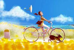 Sunny Days by Pascal Campion. #illustration #sunnydays #happiness #bike #dog #pascalcampion